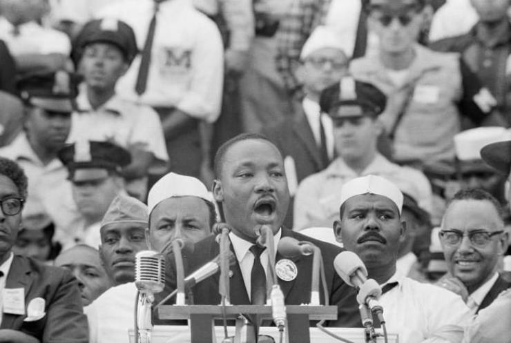 "Martin Luther King Jr. delivers his famous ""I Have a Dream"" speech in front of the Lincoln Memorial during the March on Washington on August 28, 1963"