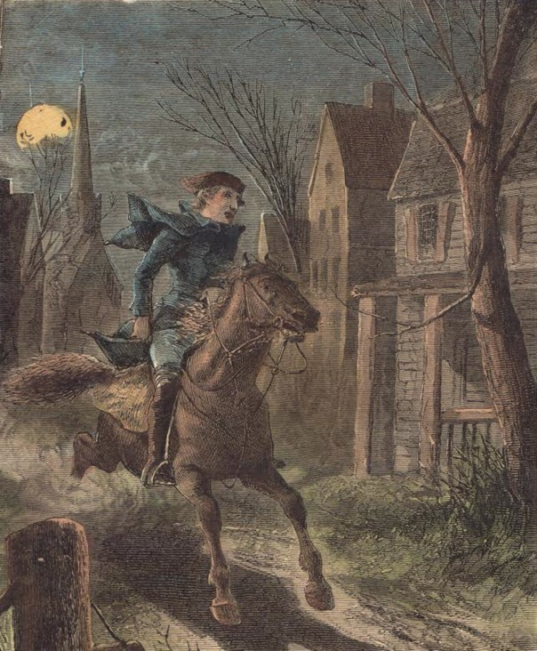 Image result for 1775 –The British advancement by sea begins; Paul Revere and other riders warn the countryside of the troop movements.