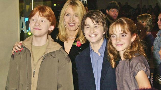 jk rowling with harry potter cast