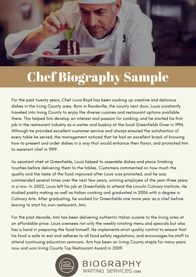 Writing An Impressive Chef Biography Tips From Bio Experts