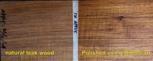 Tampilan kayu jati natural sebelum dan sesudah dipoles dengan Biopolish® Interior food grade wood polish