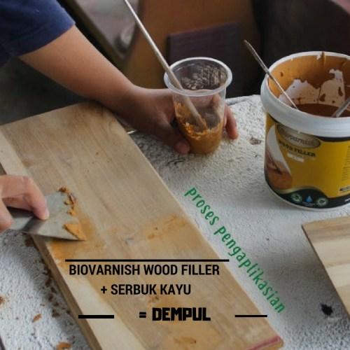 biovarnish wood filler + serbuk kayu sebagai dempul kayu
