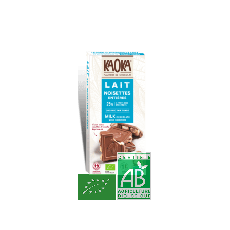 tablette chocolat lait noisettes 180g kaoka