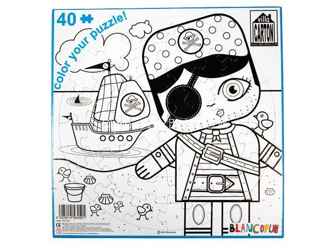 Puzzle en carton  colorier Pirate  bateau  Villa Carton