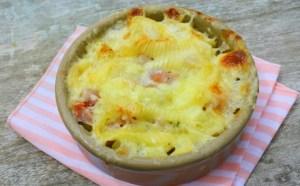 Escalope de ternera con soja y Tartiflette de queso