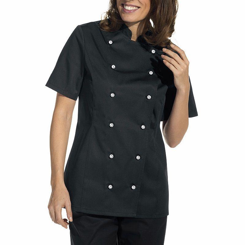 Veste de cuisine femme manches courtes cintre poche sur la manche