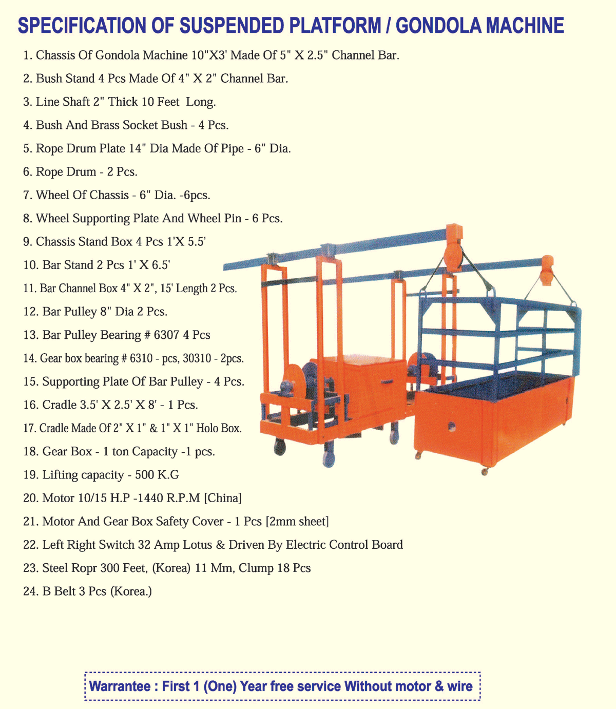 hight resolution of suspended platform gondola machine 7