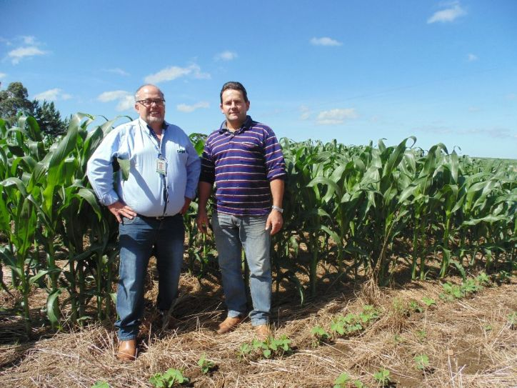 O agricultor Genuário Almir Sheid com o comprador Aglacir Kuyava.