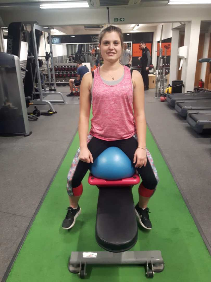 Hannah Bown before core and  balance work