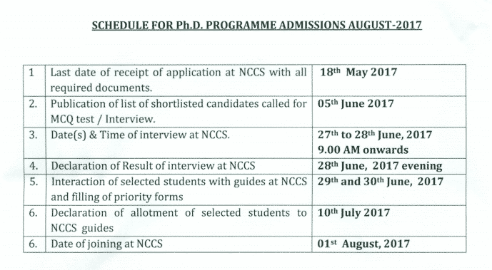 2017-04-20_13-59-57 NCCS PhD Admission - 2017 Official Notification