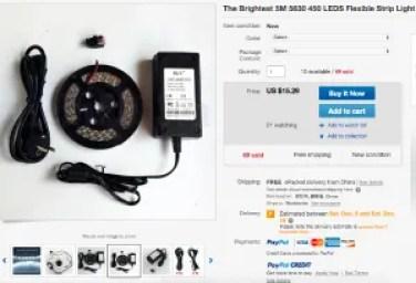Complete LED 12 volt kit in strip form.