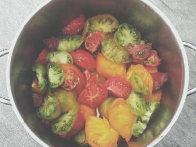 Topf mit roten, gelben und grünen Tomaten