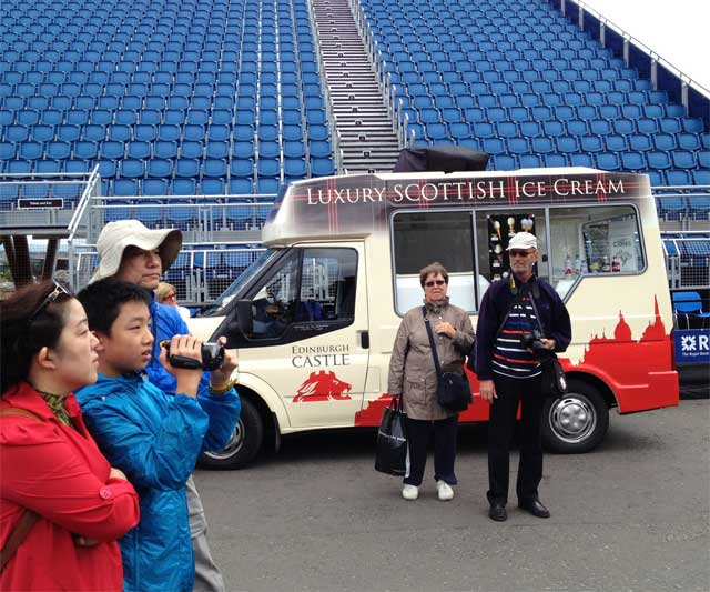 "Truck selling ""Luxury Scottish Ice Cream"" to tourists at Edinburgh Castle."
