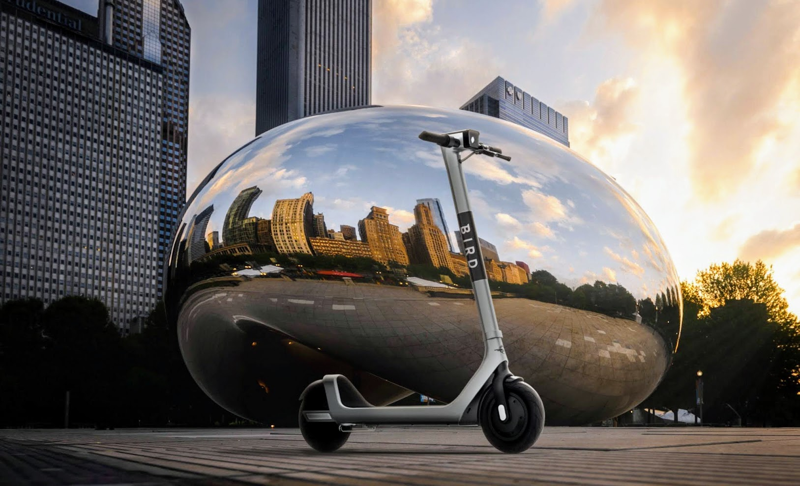Bird Two electric scooter in front of Chicago's famous Bean sculpture