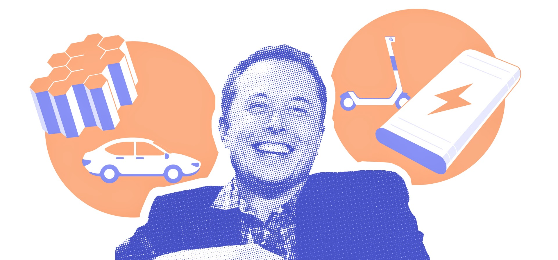 Illustration of Elon Musk and batteries