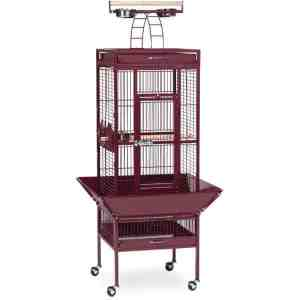 Play Top Bird Cage for Small Parrots by Prevue 3151 Garnet Red