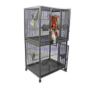 Breeder Bird Cage Double Stack for 2 Large Parrots by AE 4030-2 Black