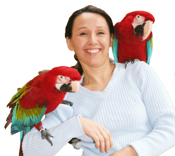 Ann Castro with 2 green wing macaw parrots one on each shoulder