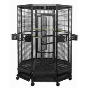 Octagon Shape Parrot Cage For Large Birds by AE OCT5252 Black