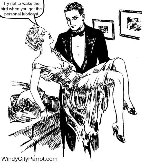 Man carrying woman to bed cartoon don;t wake the bird when you get the personal lubricant