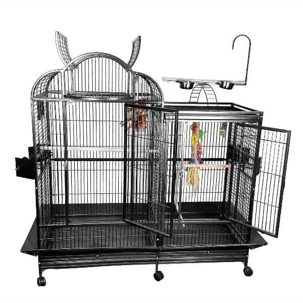 Divided Bird Cage Split Level With Divider by AE PC-4226D Black