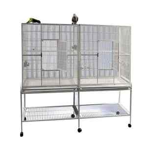 Divided Bird Aviary Cage for Smaller Birds by AE 6421 Platinum