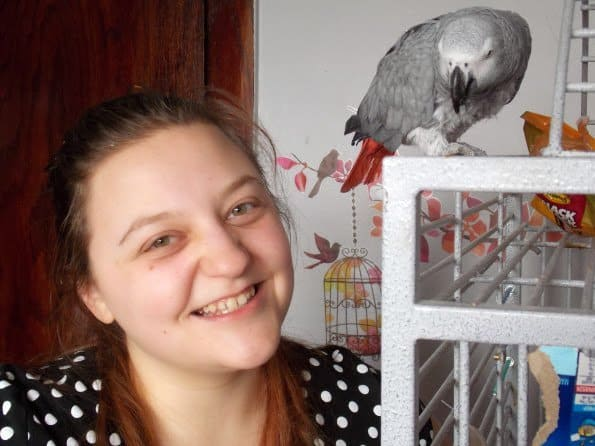 Girl and African Grey Parrot on California Bird Cage