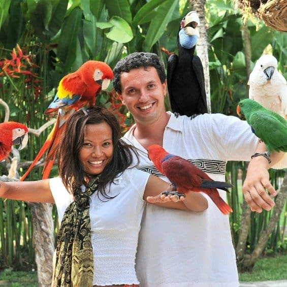 man and woman hold many pet birds on arms and heads