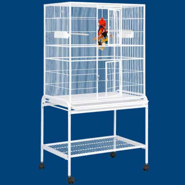 Indoor Aviary Bird Cage & Stand for Small Birds by HQ 13221 Platinum