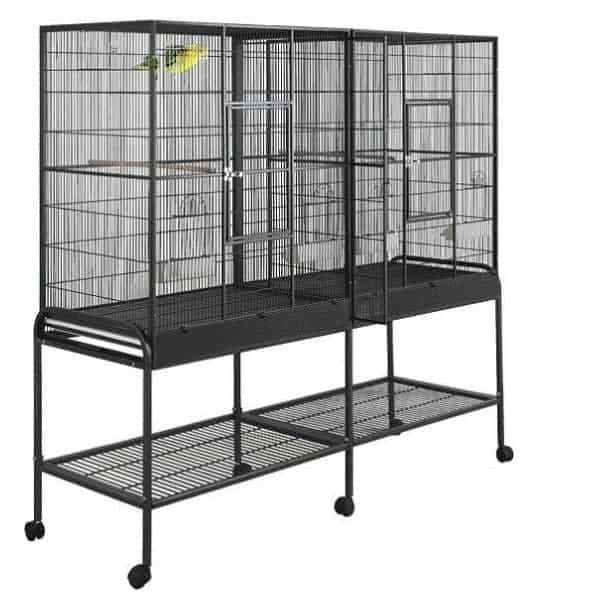 Divided Bird Aviary Cage for Smaller Birds by HQ 16421 Platinum