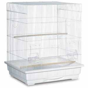 Flat Top Small Bird Bird Cage by Prevue 25212 White