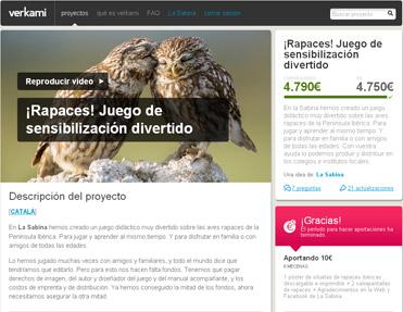 Raptors! Rapinyaires! Rapaces! Verkami crowdfunding initiative
