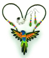 Lorikeets Lory parrot necklace earrings-bird jewelry by dawn