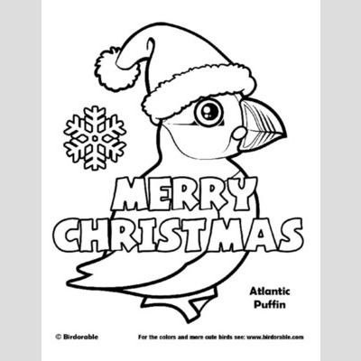 Christmas Atlantic Puffin Coloring Page