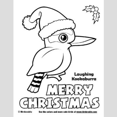 Christmas Laughing Kookaburra Coloring Page