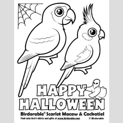 Halloween Scarlet Macaw and Cockatiel Coloring Page