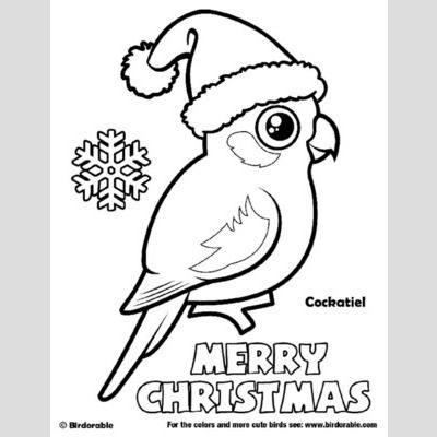 Santa Cockatiel Merry Christmas Coloring Page