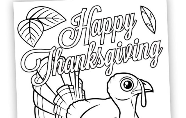 New Thanksgiving Coloring Page with Cute Wild Turkey