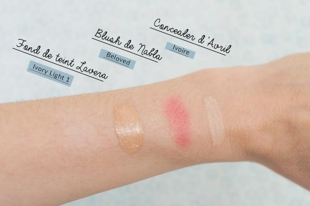 Maquillage du teint en bio: Swatch blush Nabla Beloved -fond de teint liquide Lavera - Concealer d'Avril