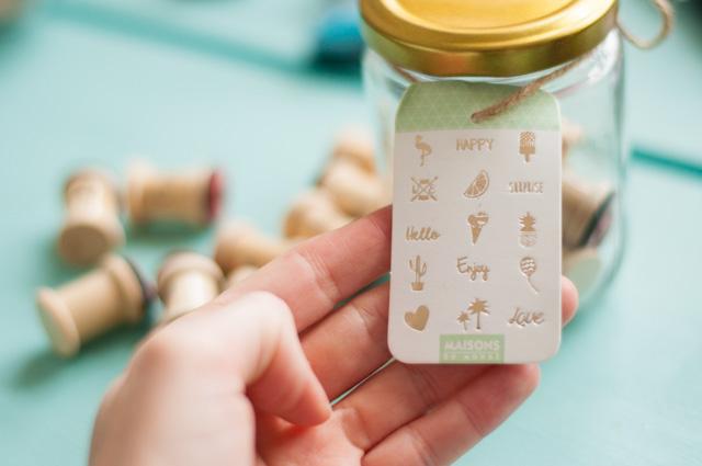 Coup de coeur papeterie: Bocal de tampons cool Maisons du Monde