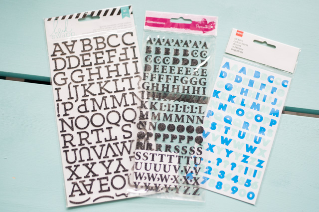 Stickers lettres de l'alphabet scrabooking