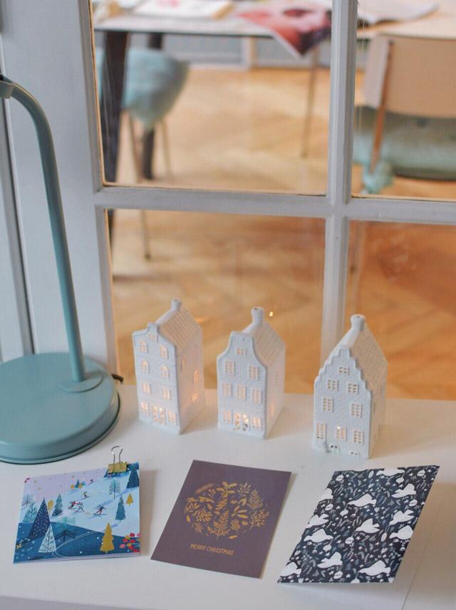 Jolies cartes de Noel - Maisons photophore - souvenir d'Amsterdam