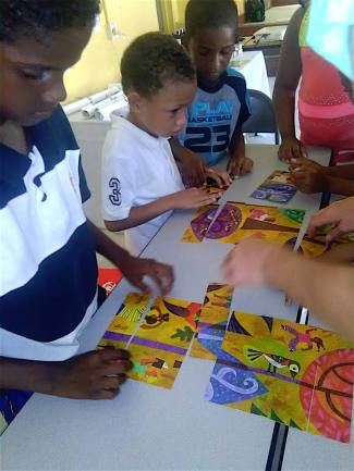 Children Enjoy The Migratory Bird Puzzle Carriacou Island Grenada