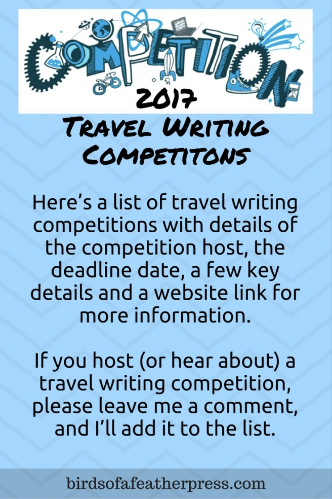2017 Travel Writing Competition list from Birds of a Feather Press