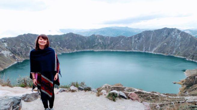 Nina in Laguna Quilotoa, Ecuador