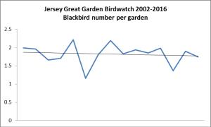 Blackbird. Garden Bird Watch 2002-2016