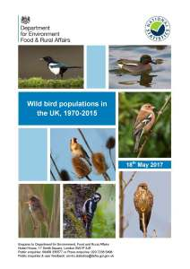 Wild bird populations in the UK 1970-2015. 2017
