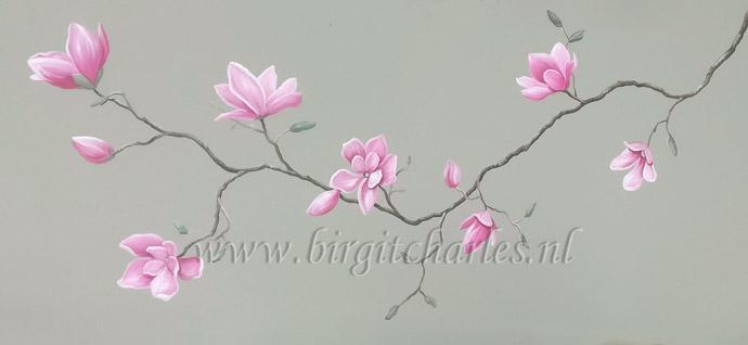 Bloementak muurschildering bloemen modern of realistisch