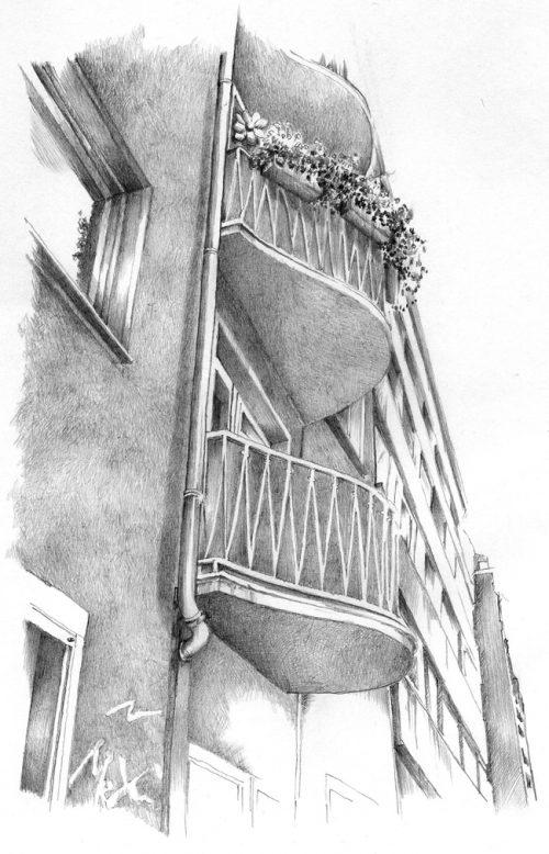 Blick nach oben auf eine Fassade, die mit Bleistift gezeichnet ist