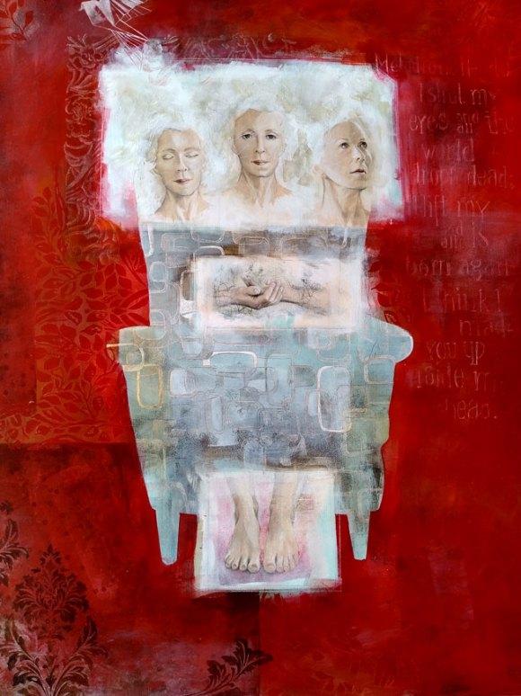 Rotes Bild mit einem stilisierten Sessel und die bildhafte Beschreibung von Ideen